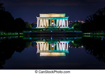 The Lincoln Memorial and Reflecting Pool at night, at the...