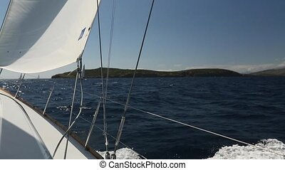 Sailing. Luxury boats. - Sailing. Ship yachts with white...