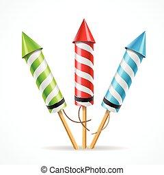 Fireworks rocket set. Vector - Fireworks rocket set. The...
