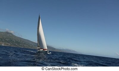 Boat in sailing regatta. - Sailing ship yachts with white...