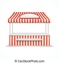 Market stall Vector - Market stall with red and white...