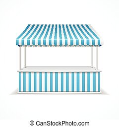 Market stall Vector - Market stall with blue and white...