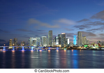 Downtown Miami at dusk, Florida USA
