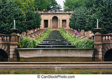 Cascading fountain at Meridian Hill Park, in Washington, DC.