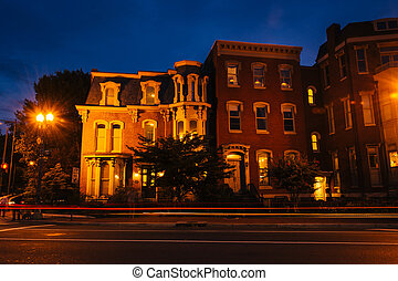 Historic row houses at Logan Circle at night, in Washington,...