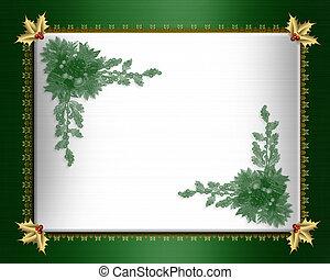 Christmas border green satin