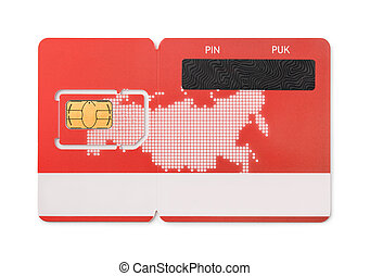 SIM card - New red SIM card isolated on white