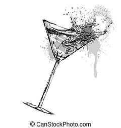 Martini cocktail with Vector illustration - Martini cocktail...