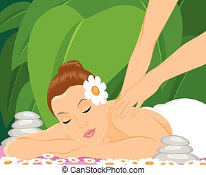 Masseur makes massage - Vector illustration of a masseur...
