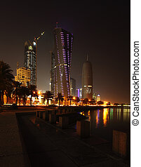 Doha towers at night