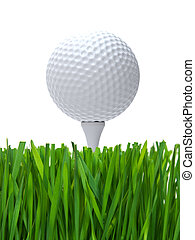 Golf ball on tee and white background close up