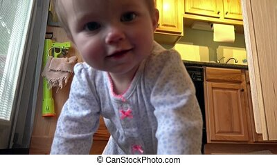 Cute crawling baby girl coming for - Unique vintage 8mm film...
