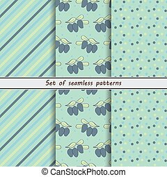 honeysuckle, a set of seamless patterns, dots, stripes,...