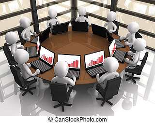 Corporate Meeting - 3d people having a corporate meeting in...