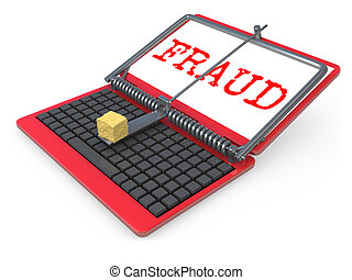 Internet Fraud - Laptop shown as a mouse trap representing...