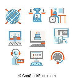 Colored vector icons for internet education