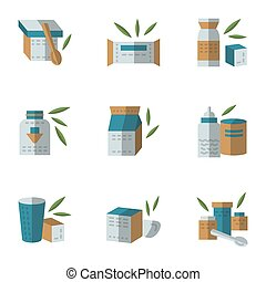 Flat style vector icons for baby food
