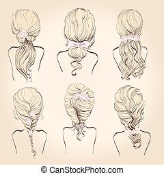 set of wedding hairstyles - set hair, a sketch on a beige...