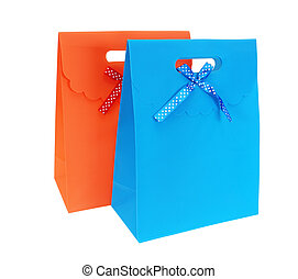 gift packages - the orange and blue packages isolated on...
