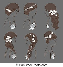 set of different wedding hairstyles
