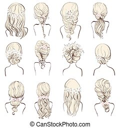 set of different wedding hairstyles - set of different...
