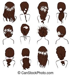 set of different hairstyles, wedding hairstyles, hair styles...