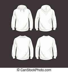 Hoody - Set od hoodies, front and back, with hood and...