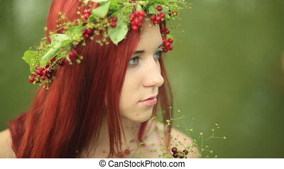 The girl with red hair close up. - Bright girl with red...