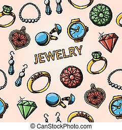Seamless jewelry handdrawn pattern with- rings, diamonds, watch, earrings, pendant, cuff links, necklace. Vector