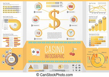 Set of Casino, Gambling Infographic elements with icons,...