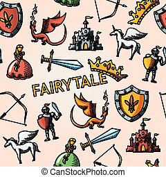 Color hand drawn fairytale pattern with - sword, bow, shield, knight, dragon, princess, crown, unicorn, castle. Vector