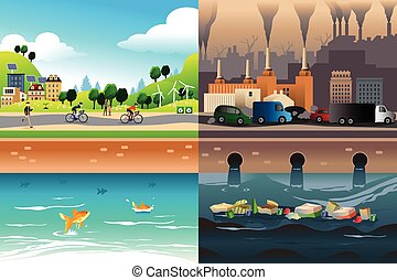 Healthy City Versus Polluted City - A vector illustration of...