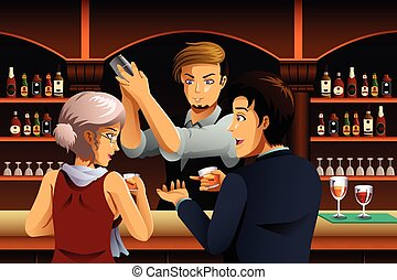 Couple in a Bar with Bartender - A vector illustration of...