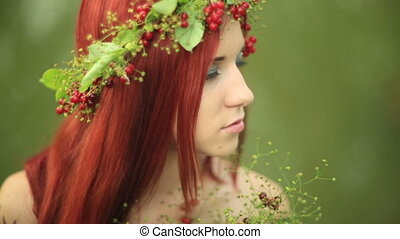 The girl with red hair close up - Bright girl with red hair...