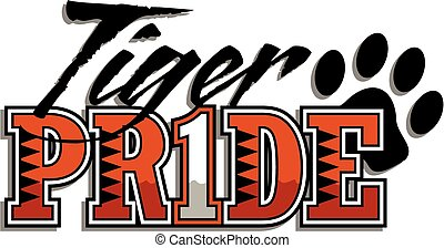 tiger pride design with paw print and stripes