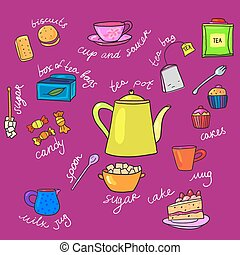 bright colors tea cup and teapot, and other items with...