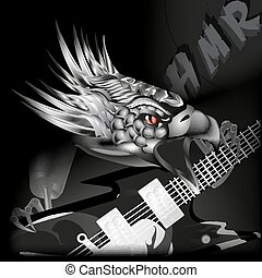 iron eagle with a guitar in its claws - vector illustration...