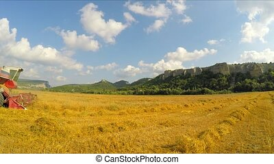 Combine Harvester Collecting Grains At Picturesque Place -...