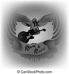rock n roll with an eagle on a background of a brick wall