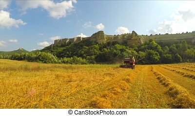 Combine Harvesting Grains At Picturesque Place - Low angle...