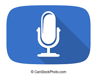 microphone flat design modern icon with long shadow for web...