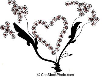 Vector Heart and Flower Vines
