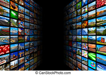 Streaming media technology and multimedia concept - Creative...