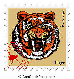 stamp with animal - vector, post stamp with tiger