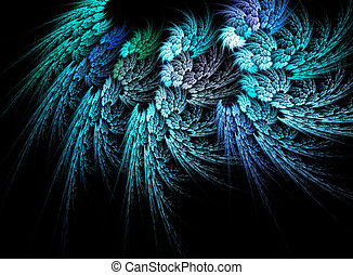 Abstract fractal blue feathers - Abstract fractal blue...