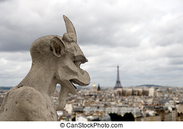 Paris Gargoyle in Notre Dame Paris - Gargoyle an Paris view...