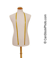 male torso mannequin with tape measure - front view of male...