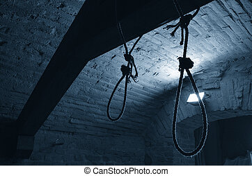 death penalty - hanging rope inside the ancient castle