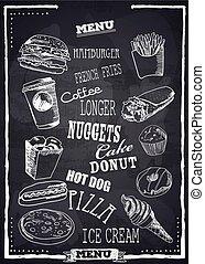 Fastfood vector menu. - Fast Foods menu on chalkboard vector...