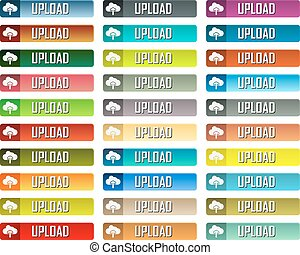 Upload buttons - Colorful vector upload buttons pack